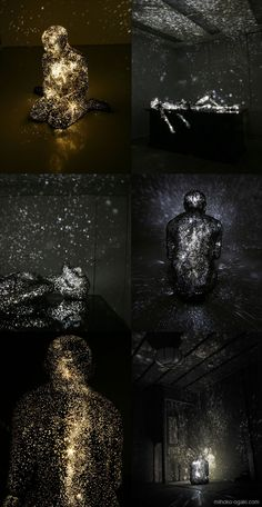 In her ongoing series of figurative sculptures titled Milky Ways, artist Mihoko Ogaki explores ideas of life, death, and rebirth. The dead or dying human forms are constructed from Fibre-reinforced plastic and embedded with bright LEDs that when lit project fields of light resembling stars in the surrounding space.