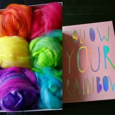 Rainbow roving. For spinning  made by monique van Groningen