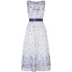Adrianna Papell Sleeveless floral prom dress ($215) via Polyvore featuring dresses, blue multi, clearance, floral dress, blue prom dresses, vintage floral dress, see through dress and sheer prom dresses