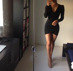Resultado de imagen para long black wrap dress