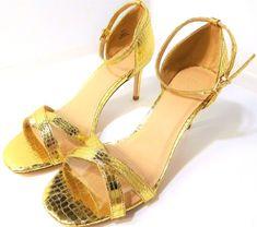 97d0d08472b2 ASOS HIDE AND SEEK Wide Fit Heeled Metallic Gold Sandals US Size 9 M NEW  DEAL !!  ASOS  Sandals
