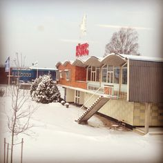 Hästens factory beautifully covered in snow.