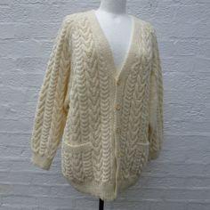 Cardigan chunky wool mans top vintage cardigan boyfriend wool cardigan large vintage top handknitted cardigan 80s knit top handmade cardigan...