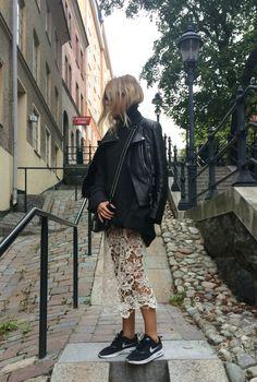 lace & leather. Stockholm. #FashionMeNow