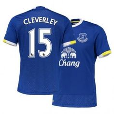 Everton FC Home 16-17 Season Blue #15 Cleverley Soccer Jersey [H678]