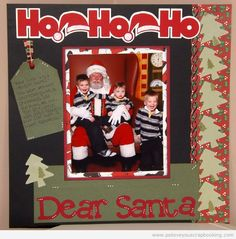 Christmas Scrapbook layouts featuring great titles, die cut Christmas trees, tag with journaling, Christmas Scrapbook Papers, and three adorable boys.