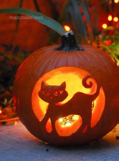 Tips for carving Pumpkins. Cat Halloween decor