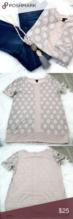 j. crew • mixed pattern fancy t-shirt This is one fancy t-shirt. Contrasting patterns, roll sleeves and soft fabric.  Blush, gray and cream.  Excellent  condition. I am also selling the same shirt in black as shown above. Available in a separate listing in my closet.  Bundle up! J. Crew Tops Tees - Short Sleeve