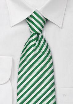 Herrenkrawatte feine Linien edelgrün weiß