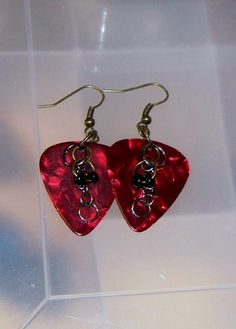 Fender Guitar Pick Dangle Earrings by applecorecrafts on Etsy, $7.25