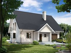 Projekt domu MT Goździk paliwo stałe - DOM ST9-11 - gotowy projekt domu Farmhouse Plans, Facade House, Design Case, Home Fashion, Exterior Design, Brick, Sweet Home, Shed, Outdoor Structures