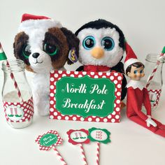 Free printables for your Elf on the Shelf North Pole Breakfast. Includes editable note and tag a long with other great party printables. Magical Christmas, Christmas Elf, Christmas And New Year, Christmas Ideas, Christmas Crafts, North Pole Breakfast, Elf Movie, Buddy The Elf, Christmas Signs Wood