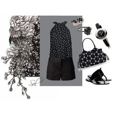 """polka dotted in b & w"" by selenitabr on Polyvore"