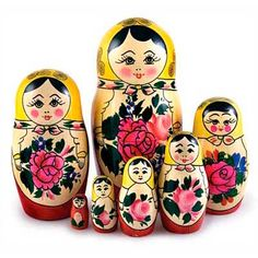 "Matryoshka ""Semenovskaya"" - The Russian nesting doll, or matryoshka, is the most beloved and famous of all Russian souvenirs - and deservedly so! They are hand crafted with country humor, cheerful inventiveness and bold colors. Brighten up someone's day with this adorable gift!"