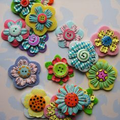 funflowers2 | Fun flowers layered with felt and paper. | Laurie | Flickr