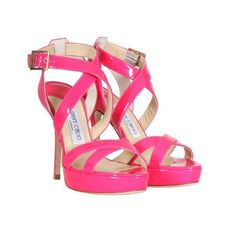 Jimmy Choo Fuchsia Patent Leather Vamp Sandals ❤ liked on Polyvore