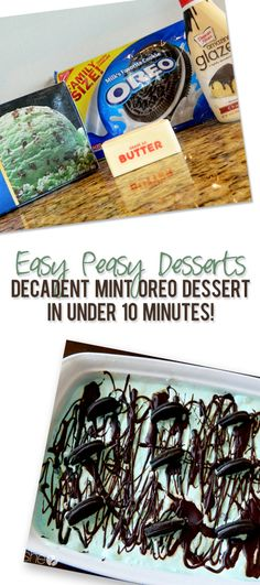 nicolette oreo dessert pinterest  (crushed oreos with butter for crust, softened mint ice cream layered on top, drizzle with chocolate.)