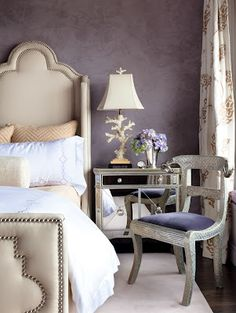 walls -  soft shades of lavender, purple and fog. interior design by ken fulk via the style saloniste