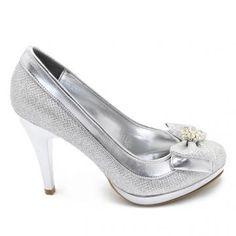 Gri renk platform topuklu fantazi ayakkabı kadın modası yeystore.com'da