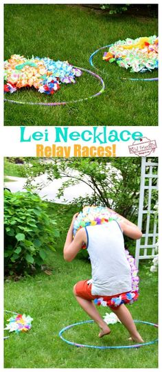 This Lei Necklace Realy Race is easy and hilarious to watch. It's perfect for your summer or Hawaiin themed party. Great for kids of all ages and adults. Hawaiian Party Games, Luau Party Games, Summer Party Games, Outdoor Party Games, Luau Theme Party, Hawaiin Theme Party, Hawaiian Parties, Kids Birthday Party Games, Summer Camp Games