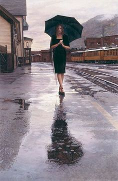 Waiting in the Rain, by Steve Hanks LIMITED EDITION CANVAS