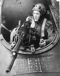 Gunner of a Soviet Ilyushin Il-2 plane. The machine gun is a Berezin UB 12.7 mm.