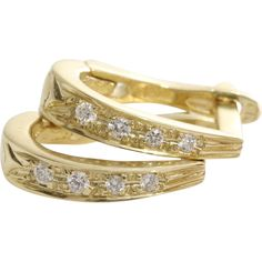 Diamond Gold Earrings | 14 Karat Yellow | Vintage Lever Back 14KT