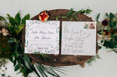 Botanical wedding invitations | Amy Lewin Photography | see more on: http://burnettsboards.com/2015/01/botanical-beauty-greenhouse-wedding-editorial/