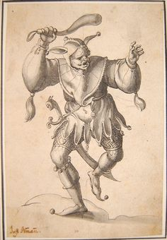 A fool, from an album chiefly containing designs for glass-paintings; brandishing a club-like object and carrying a sword at his hip Pen and black ink and grey wash
