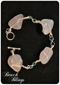 Just Listed- Unique Light Lavender Sea Glass Bracelet  Sterling by BeachBlings, $35.00