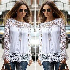 Blusas Femininas outono moda feminina blusa 2016 manga longa crochê mulheres Casual blusa de renda branca camisas Plus Size 5XL em Blusas de Roupas e Acessórios no AliExpress.com | Alibaba Group