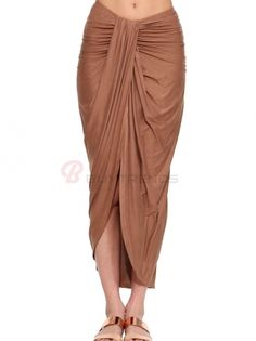 Ankle Length Sheath Low Waist Bellybutton Baring Asymmetric Swallow Tail Maxi Pleated Skirt on buytrends.com