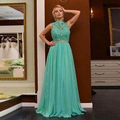 2016 Long Turquoise Bridesmaid Dress,Elegant Long Chiffon Prom Dresses