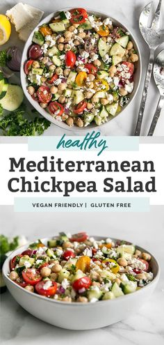 This easy mediterranean chickpea salad is the perfect healthy recipe to meal prep for a week of delicious lunches or dinners. It takes just 15 minutes! So many ways to enjoy this side dish. Add feta cheese if you'd like, or serve with diced avocado if vegan. Gluten free recipe. Chickpea Feta Salad, Mediterranean Chickpea Salad, Chickpea Salad Recipes, Clean And Delicious, Delicious Vegan Recipes, Healthy Dinner Recipes, Whole Food Recipes, Free Recipes, Lunch Meal Prep