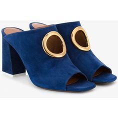 Neous High Block Heel Mules ($505) ❤ liked on Polyvore featuring shoes, blue, blue mule, open toe shoes, pull on shoes, blue block heel shoes and mule shoes