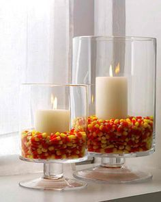Sonoma Classic Glass Hurricane Fill hurricanes one third full with candy corn and nestle white pillar candles inside.Fill hurricanes one third full with candy corn and nestle white pillar candles inside. Halloween Tags, Holidays Halloween, Halloween Crafts, Disney Halloween, Happy Halloween, Halloween Party, Halloween Candles, Halloween Ideas, Halloween Centerpieces