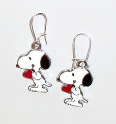 Snoopy with Red Hearts Silver Plated pierced earrings