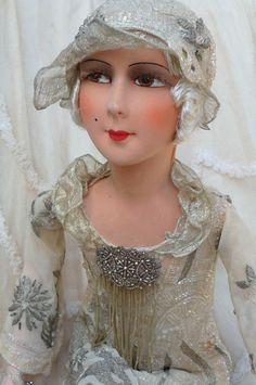 Antique French Boudoir Doll Flapper Doll Paris c1920 Fashion Doll Gatsby Poiret   eBay