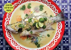 Thai Steamed Fish with Lime and Chile ~ This is the definition of minimalist Thai cooking. The steam not only gently cooks the fish until just tender but also creates an instant, complex sauce from a handful of basic ingredients. Thai Recipes, Fish Recipes, Seafood Recipes, Asian Recipes, Healthy Recipes, Copycat Recipes, Healthy Foods, Yummy Recipes, Healthy Eating
