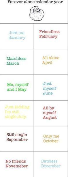 Forever alone calendar