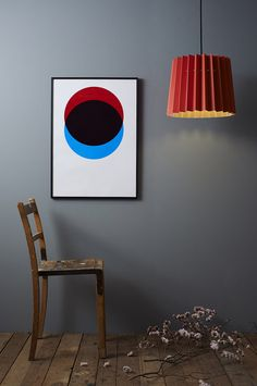 Lane Look Book - Autumn Bright Red & Stone Twin Tone Lampshade Circles - Red & Blue hand pulled screen print