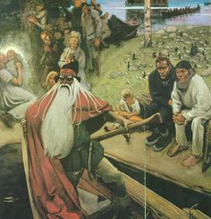 """""""Kalevala""""- painting made by a finnish painter Akseli Gallen-Kallela Russian Mythology, Norse Mythology, Viking Age, Gods And Goddesses, Tolkien, Deities, Folklore, Fantasy, Old Things"""