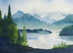 Watercolor landscape idea. Reminds me of Pacific northwest.