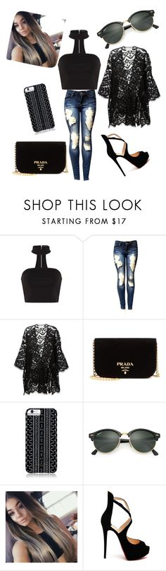 """""""Untitled #69"""" by kaela-baby ❤ liked on Polyvore featuring Chloé, Prada, Savannah Hayes, Ray-Ban and Christian Louboutin"""