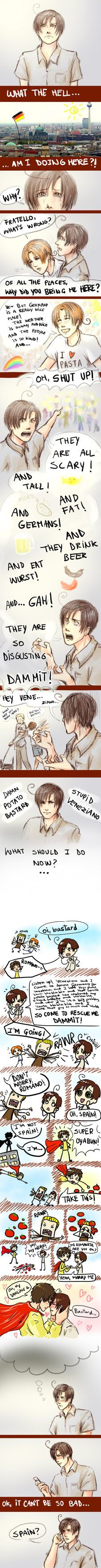 Damn potato bastard by ~CHIGII on deviantART     never give up romano :)   Omg omg omg omg OTP