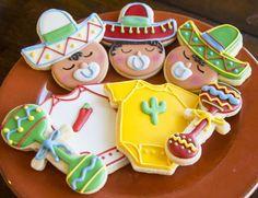 Cinco de Mayo Baby Shower Themed Cookies l Baby Shower Cakes, Distintivos Baby Shower, Fiesta Baby Shower, Baby Shower Gender Reveal, Baby Shower Parties, Baby Boy Shower, Fiesta Gender Reveal Party, Mexican Theme Baby Shower, Baby Shower Themes