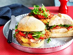 There are a lot of versions of the chicken burgers, but this is one of The Australian Women's Weekly's favourites. It's complete with a crispy batter and salty bacon.