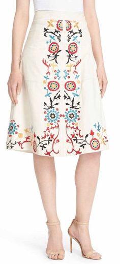 Alice   Olivia Giselle Embroidered High Waist Leather Midi Skirt