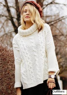 White Long Sleeve Turtleneck Chunky Cable Knit Sweater   Fashion4you - Clothing on ArtFire