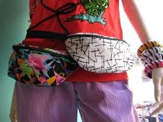 Colourful bumbags and bracelets
